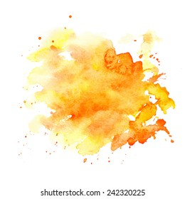 Watercolor stains on white background, abstract blots isolated. Bright colors, divorces. Vector watercolor.