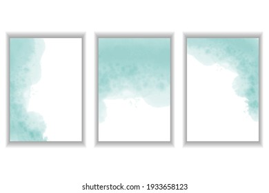 Watercolor stains. A set of templates for postcards, invitations, business cards. Abstract vector background of blue color