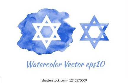 watercolor star of David, jewish symbol, emblem. vector illustration eps10.