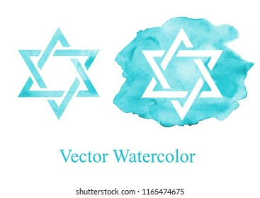 watercolor star of David. vector illustration