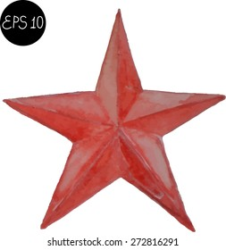 Watercolor star USSR 9 May russian. Vector isolated image.