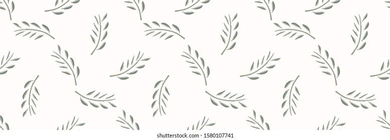 Watercolor Stem Leaf Motif Banner Background. Seamless Pattern Sage Green on White. Delicate Leaves Hand Drawn for Textiles Border. Spring Ribbon Trim. Olive Branch Aquarelle Artwork. Vector EPS 10