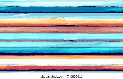 Watercolor Striped Fashion Print Design. Cloth, Textile Design, Linen, Fabric, Ad Background. Grunge Stripes Seamless Pattern with Hand Painted Brush Strokes. Hand Drawn Lines in Watercolor Style
