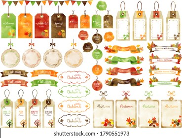 Watercolor style autumn tags, ribbons and speech bubbles