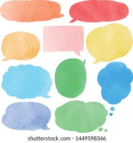 watercolor style colorful speech bubble set