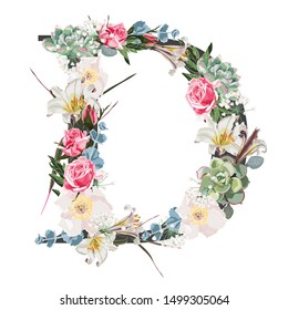 Watercolor style Floral Monogram Letter D with many kind of flowers and succulent. Isolated White Background.