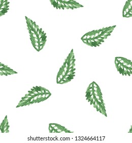 Watercolor style green leaf seamless background. Vector watercolor seamless green leaf pattern.