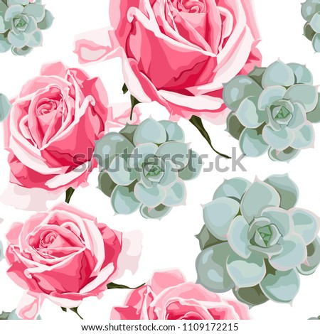 Watercolor Style Succulents And Pink Roses Seamless Pattern Vintage Wallpaper With Rose Hip