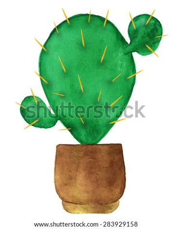 Watercolor Succulent Houseplant Cactus Flower Pot Stock Vector