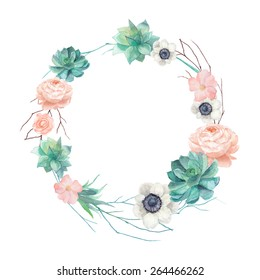 Watercolor succulents and flowers wreath. Vintage round frame with tree branch, pastel peony,roses, anemones, succulents, rose hip. Floral art print in vector