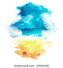 Watercolor summer background, aquarelle seascape, vector illustration