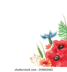 Watercolor summer background with field flowers and herbs. hand painted poppy, cornflower, spikelet, horsetail field, buttercup, grass and leaves. Vector floral frame. Artistic natural design