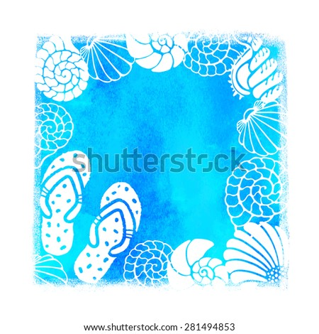 ce50b2103 Watercolor Summer Beach Print Blue Square Stock Vector (Royalty Free ...