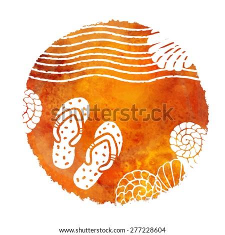 921c0dd8a1a319 Watercolor Summer Beach Print Tea Coffee Stock Vector (Royalty Free ...