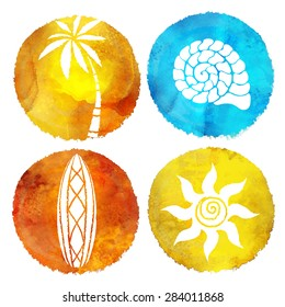 Watercolor summer beach prints. Circle pant stains, palm tree, sea shell, surfboard, sun isolated on white background