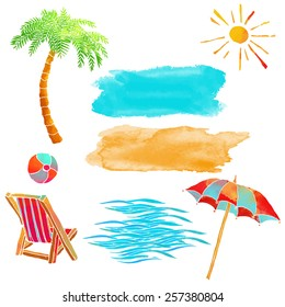 Watercolor summer beach set. Waves, sea, palm tree, sun, sun umbrella, ball, deck chair, sand isolated on white background