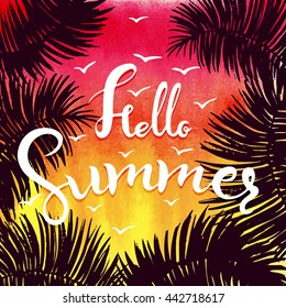 Watercolor Summer hand lettering vector,background.Colors of Sunset and twilight,  summer calligraphy,Summer sky,summer picture,summer art,summer image,summer design,summer travel,summer poster.