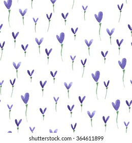 Watercolor summer heart flower pattern. Vector abstract nature seamless background.