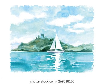 Watercolor summer landscape with the sea and sailing. Vector illustration