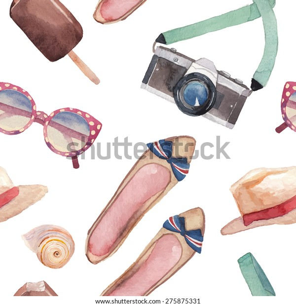 Watercolor summer vacation fashion pattern. Vintage hand drawn seamless texture with tourism objects: sunglasses, hat, sea shells, photo camera, ice cream, woman shoes. White background