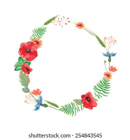 Watercolor summer wreath with field flowers and herbs. hand painted poppy, cornflower, spikelet, horsetail field, buttercup, grass and leaves. Vector round floral frame. Artistic natural design