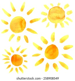 Watercolor sun icons set closeup isolated on white background. Hand painting on paper