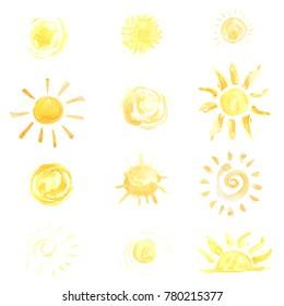 Watercolor sun set illustration. Bright yellow color symbol with sunbeams, solar rays.