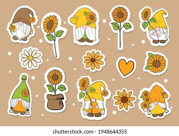 Watercolor sunflower gnome sticker, planner and scrapbook