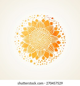 Watercolor sunny mandala. Stylized sunflower. Isolated element for design. Gold texture sunflower on white background. Vector edited illustration. Logo template