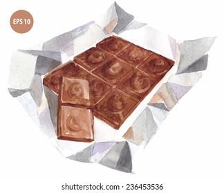 watercolor sweet chocolate