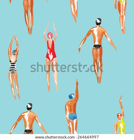 27c23cf4f Watercolor swimmer men and women engaged in sports swimming in the marine  tropical harbor. Art top summer seamless pattern vector.