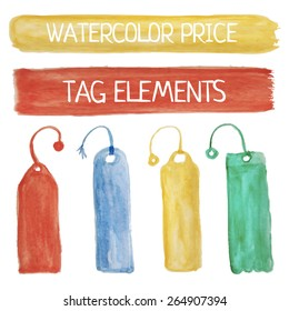 Watercolor tag price elements