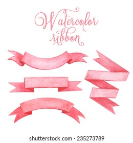 Watercolor tape. Set of vector banners