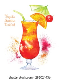 Watercolor Tequila Sunrise Cocktail in Glass with Orange Slice Isolated on White Background. Vector Illustration.