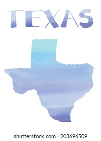 Watercolor Texas State With Hand Drawn Lettering