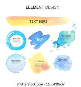 Watercolor, Text box bubbles Empty template. design elements