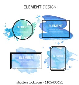 Watercolor, Text box bubbles Empty template. design elements