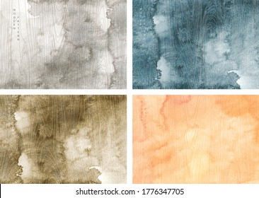 Watercolor texture background with line flat pattern vector. Japanese card design with wooden template.