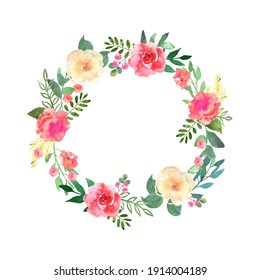 Watercolor texture. Colorful flowers wreath. Elegant floral collection with beautiful flowers and leaves in watercolor, hand drawn. Design for invitation, wedding or greeting cards. Vector