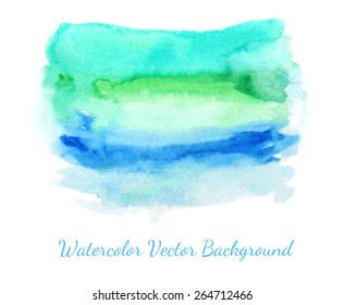 Watercolor texture spot. Abstract wet paints background. Graded wash technique with different colors. Grunge hand drawn design element. Vector illustration.