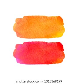 Watercolor textured elements for design. Bright orange and red colors. Abstract hand drawn background. Vector illustration. Grunge texture for cards and flyers. Watercolour stain, aquarelle paint.
