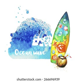 Watercolor texture-wave and surf