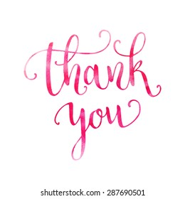 Watercolor thank you hand lettering. Template for design. Vector illustration