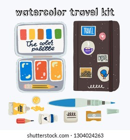Watercolor travel kit. Flat style art suppliers icons to create in the trip, travel, journey.  Paints in tubes, water brush, eraser, short pencil, sharpener, watercolor palette in tin box, sketchbook