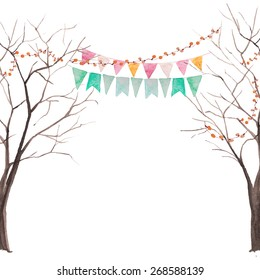 Watercolor tree party card. Tree without leaves silhouettes with light and flags garlands. Rustic vector background