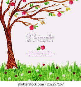 Watercolor tree with red apples and grass with flowers