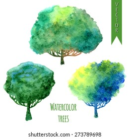 Watercolor trees set. Isolated vector set for your design