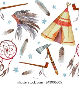 Watercolor tribal seamless pattern. Background with vintage hand drawn design elements: tepee, peace pipe, Indian hat, dreamcatcher, axe, feathers and stars. Vector illustration