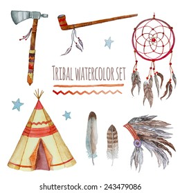 Watercolor tribal set. Collection of vintage hand drawn design elements: tepee, peace pipe, Indian hat, dreamcatcher, axe, feathers and stars. Vector illustration