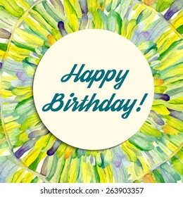 Watercolor tropical background with Happy birthday inscription. Thank you template.